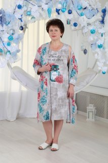 Купить Комплект женский халат+сорочка 071001114 в розницу