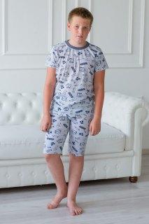 Купить Пижама детская из футболки и бридж из кулирки Саша серый 085700543 в розницу