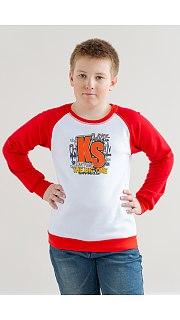 Купить Свитшот для мальчика подростковый красно-белый 076000345 в розницу